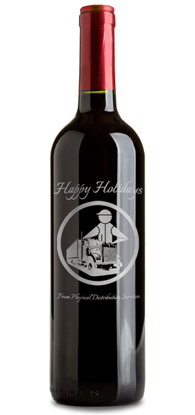 Engraved and etched Etched Corporate Wine Gift Holiday Bottle