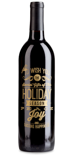 "Etched ""Wish You"" wine bottle"