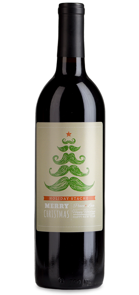Custom labeled holiday wine gift