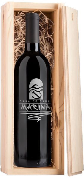Branded wine bottle in wood box