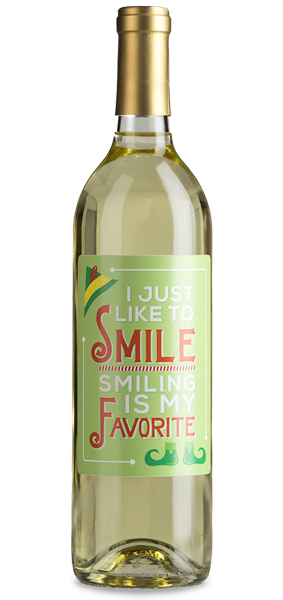 """Smiling is my favorite"" wine bottle"