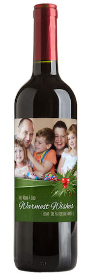 Wine bottle with family Christmas photo