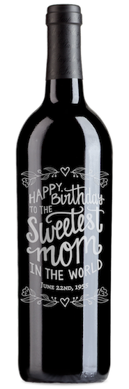 Engraved wine bottle for mom